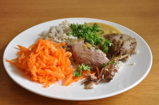 backed duck with pearl barley and carrots