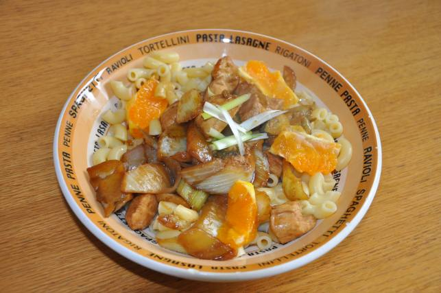 macaroni with chicken and orange