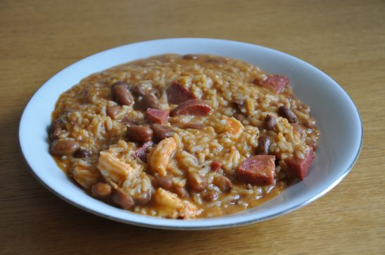 rice with chili beans prawns and salami