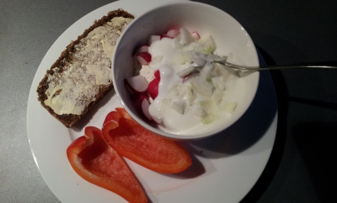 cottage chese with radish and onion