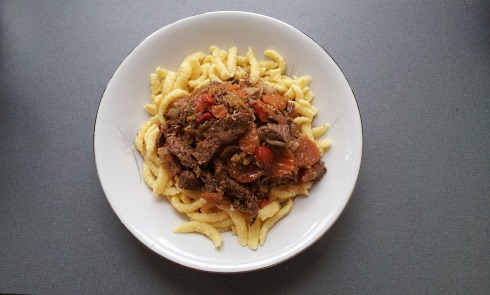 egg spatzle with beef goulash