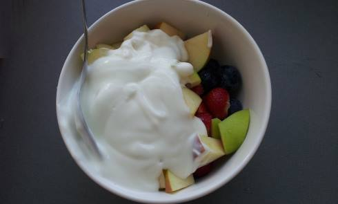 fruits with yogurt