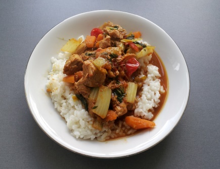 rice with pork and vegetables in curry-chili sauce